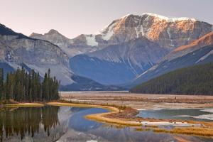 Canada, Alberta, Jasper National Park, Mount Kitchener, Sunwapta River, River with Mountains at Sun by Don Paulson Photography