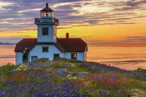 Washington, San Juan Islands. Patos Lighthouse and Camas at Sunset by Don Paulson