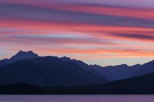 Washington, Seabeck. Sunset over the Olympic Mountains and Hood Canal by Don Paulson