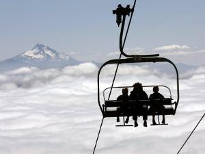 People on the Magic Mile Ski Lift at Timberline Lodge on Mount Hood, Oregon, August 16, 2006 by Don Ryan