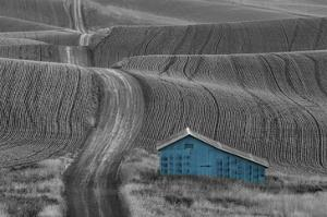 Blue Barn on a Country Road by Don Schwartz