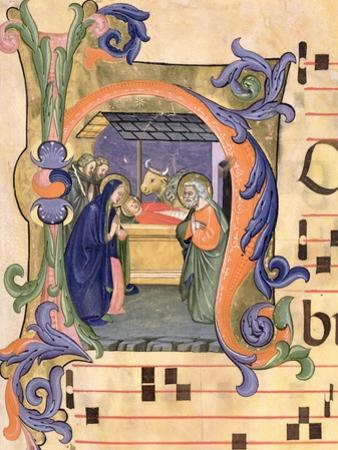 H Depicting the Nativity from an Antiphon Illuminated by Don Simone Camaldolese