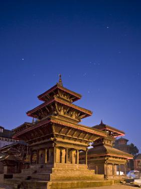 Orion in Sky at Dawn Above Pagoda Temple, Unesco World Heritage Site, Nepal by Don Smith