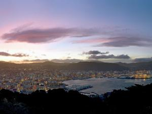 Panoramic View from Mount Victoria at Sunset, of Wellington, North Island, New Zealand by Don Smith