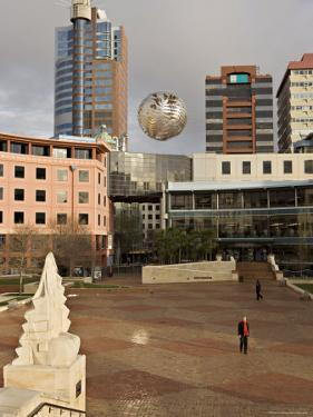 Silver Fern Globe Suspended Over the Civic Square, Wellington, North Island, New Zealand, Pacific by Don Smith