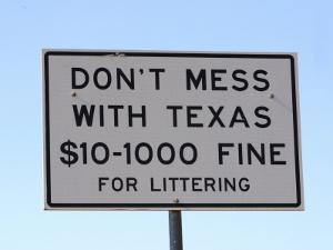 Don'T Mess with Texas Littering Sign, Texas, Usa