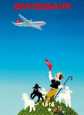 Swissair - Switzerland - Shepherd with Lambs by Donald Brun