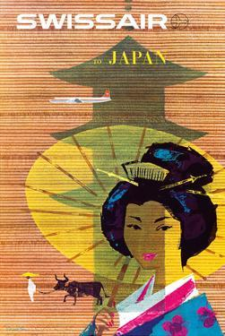 Swissair to Japan, Tokyo - Painted Wooden Store by Donald Brun