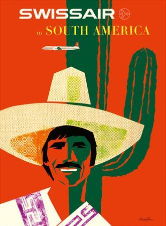 SwissAir to South America by Donald Brun
