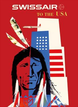 SwissAir to the USA - Native American by Donald Brun