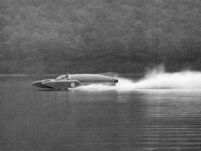 Donald Campbell in Bluebird K7, Coniston Water, Cumbria, 1958