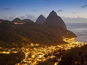 The Pitons and Soufriere at Night, St. Lucia, Windward Islands, West Indies, Caribbean by Donald Nausbaum