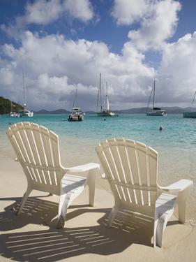 Two Empty Beach Chairs on Sandy Beach on the Island of Jost Van Dyck in the British Virgin Islands by Donald Nausbaum