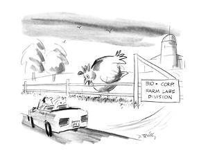 """A giant chicken looks over a fence as if it were a cow, at a passing motor…"""" - New Yorker Cartoon by Donald Reilly"""