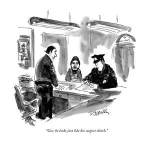 """""""Gee, he looks just like his suspect sketch."""" - New Yorker Cartoon by Donald Reilly"""