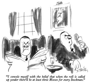 """""""I console myself with the belief that when the roll is called up yonder t…"""" - New Yorker Cartoon by Donald Reilly"""