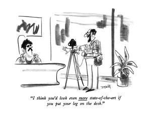 """""""I think you'd look even more state-of-the-art if you put your leg on the ?"""" - New Yorker Cartoon by Donald Reilly"""