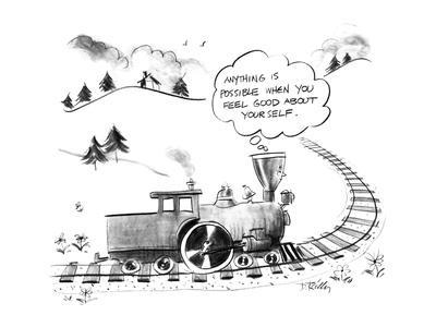 """The Little Engine that Could thinks to itself, """"Anything is possible when ? - New Yorker Cartoon"""