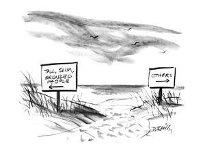 Two signs on a beach that are pointed in opposite directioins; one sign re… - New Yorker Cartoon by Donald Reilly