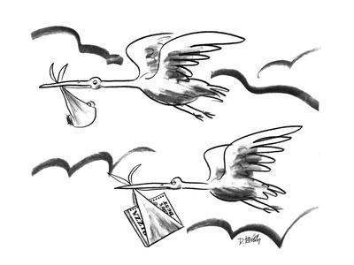 Two storks flying, one carrying  a baby, the other carrying a pizza. - New Yorker Cartoon