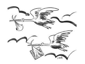 Two storks flying, one carrying  a baby, the other carrying a pizza. - New Yorker Cartoon by Donald Reilly