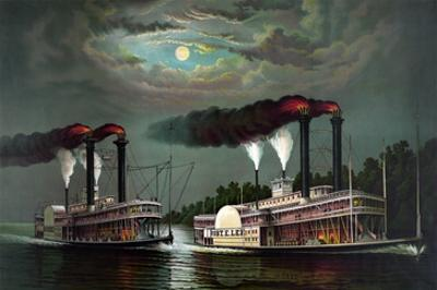Race of the Steamers Robert. E. Lee and Natchez on the Mississippi