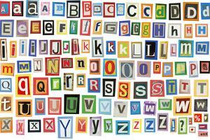 Colorful Alphabet Made Of Magazine Clippings And Letters . Isolated On White by donatas1205