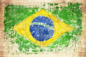 Grunge Flag Of Brazil On Wooden Texture by donatas1205