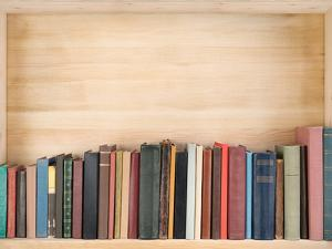 Old Books on a Wooden Shelf. by donatas1205