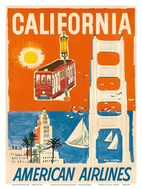 California - San Francisco Cable Car, Golden Gate Bridge - American Airlines by Dong Kingman