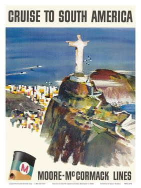 Cruise to South America - Moore-McCormack Lines - Christ the Redeemer - Mt. Corcovado, Rio, Brazil by Dong Kingman