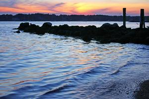A Jetty Extends into the Bay at Stonington Point by Donna O'Meara