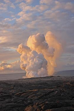 A Steam Plume Created by the Leading Molten Edge of a Pahoehoe Lava Flow as it Hits the Pacific by Donna O'Meara