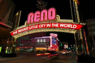 Reno, Usa - August 12: the Biggest Little City in the World Sign over Virginia Street at Night On by Donyanedomam