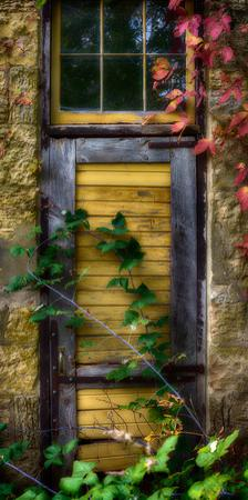 Door of an old brewery in Mineral Point, Wisconsin, USA