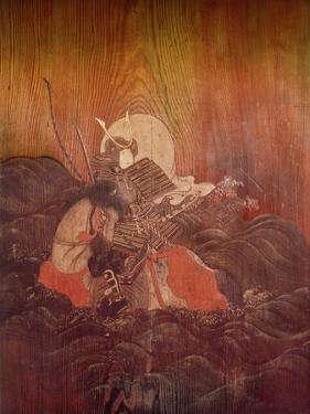 Door Painting Depicting a Mounted Samurai Riding into Battle Carrying a Bow