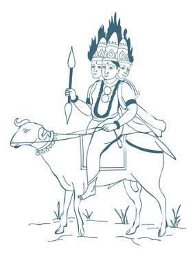 Digital Illustration of Hindu God Agni Depicted as a Three-Headed Figure Riding Ram with Flames Com by Dorling Kindersley