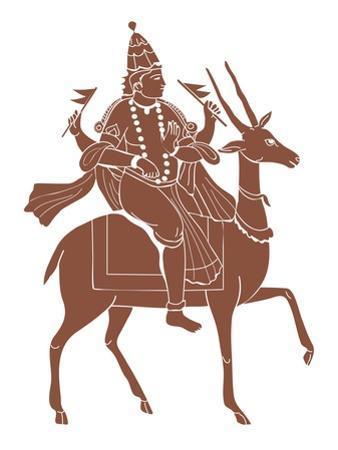 Digital Illustration of Hindu God Vayu Riding Antelope