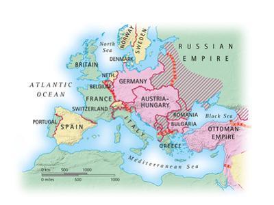 Digital Illustration of Map of Europe during World War I