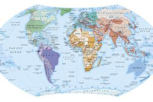 Digital Illustration of Map Showing World Population Areas by Dorling Kindersley