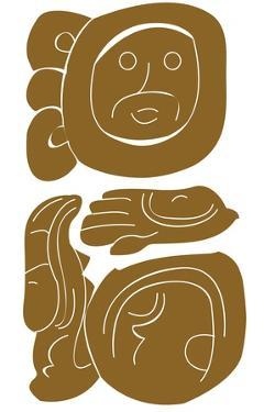 Digital Illustration of Mayan Pictorial Glyphic Inscription from Palenque Temple by Dorling Kindersley