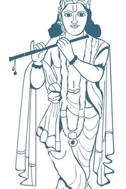 Digital Illustration of Vishnu Playing Flute by Dorling Kindersley