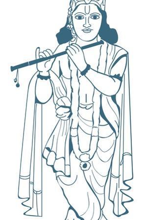 Digital Illustration of Vishnu Playing Flute