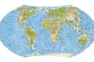 Digital Illustration of World Map and Oceans by Dorling Kindersley
