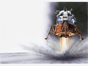Illustration of Apollo Eagle Lunar Module Landing on the Moon, 1969 by Dorling Kindersley