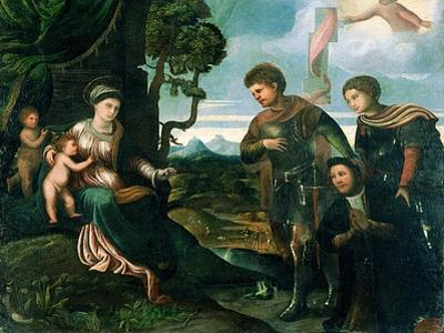 Madonna and Child with John the Baptist and Other Saints (Oil on Poplar Wood) by Dosso Dossi