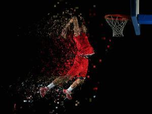 Basketball Game Sport Player in Action Isolated on Black Background by dotshock