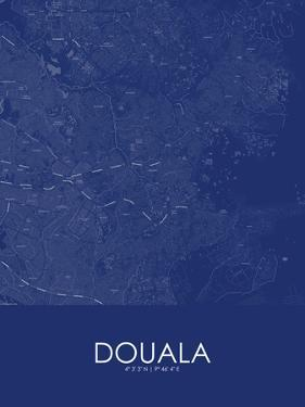 Douala, Cameroon Blue Map