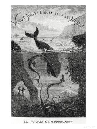 """Cover Illustration from """"20,000 Leagues under the Sea"""" by Jules Verne (1828-1905)"""
