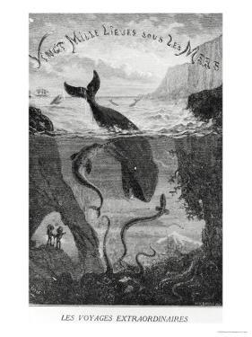 """Cover Illustration from """"20,000 Leagues under the Sea"""" by Jules Verne (1828-1905) by ?douard Riou"""
